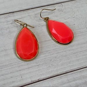 Kate Spade neon orange tear drop earrings